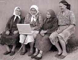 old ladies with computer