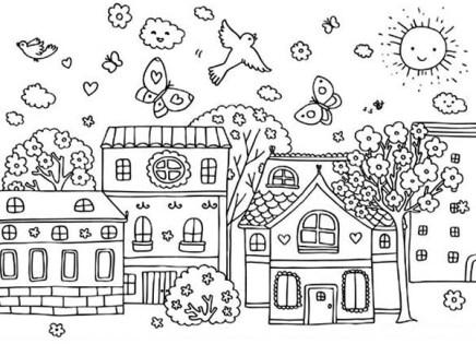 Spring-Season-at-Village-Coloring-Page
