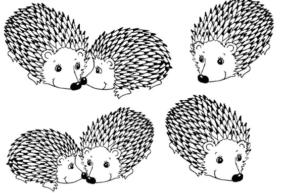 six porcupines coloring page