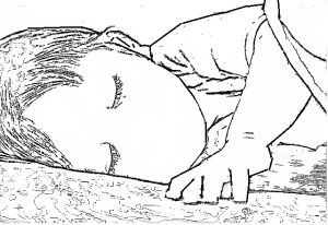 sleeping child colouring in page