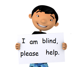 blind boy with sign