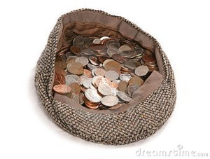 buskers hat with coins